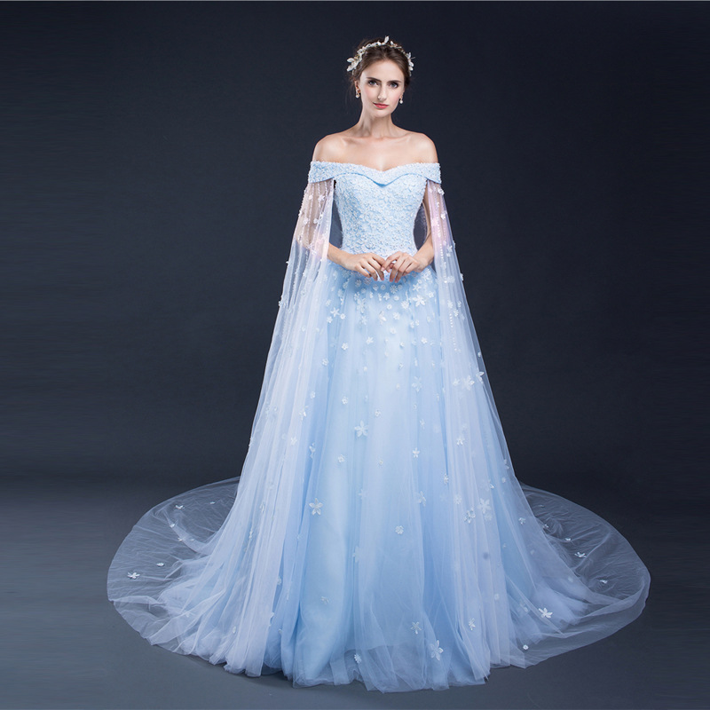 Sexy Light Blue Wedding Dress With Train Lace Off Shoulder Bridal Dress Boho Wedding Gowns With Sleeves Party Long Tulle Dresses