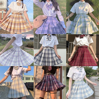 Japanese collection  jk skirt pleated skirt lattice skirt  Cute Pleated Half-Body  Women's Short  jk Uniform Sweet lolita dress box pleated skirt