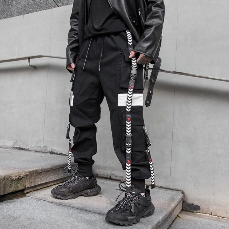 Homme Streetwear Hip Hop Punk gothique Harem pantalon Joggers pantalons de survêtement hommes rubans boucle épissure lâche décontracté noir Cargo pantalon