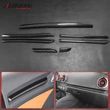 LHD 7pcs Real Carbon Fiber Interior Moldings Door Console Cover Panel Trim Strips For