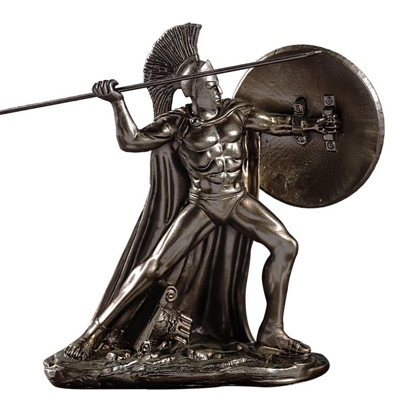 Greek God Of War Sparta Sculpture Knight Character Statue Resin Art&Craft Desktop Retro Warrior Figurines Home Decorate R2754