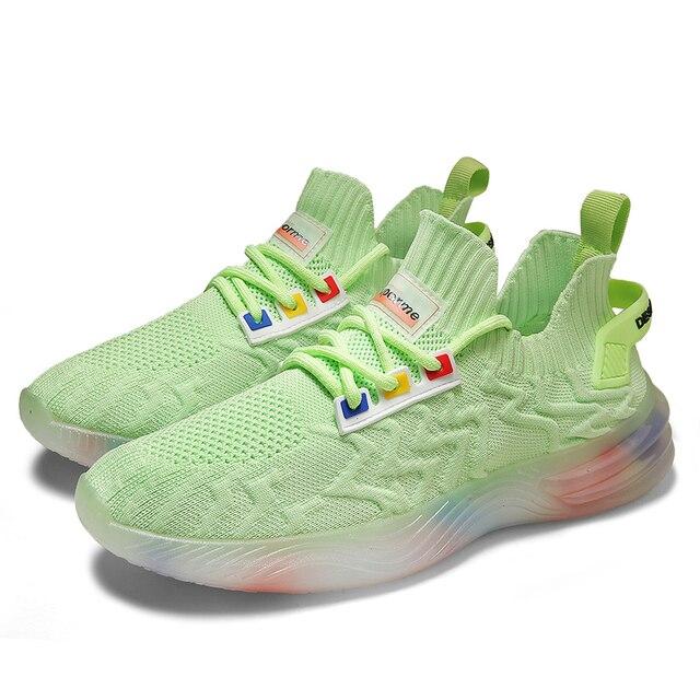 Zapatos informales de estilo de tendencia para hombre, zapatillas con personalidad, ligeras, transpirables, de malla, tejidas, Tenis masculinos, 2020 3