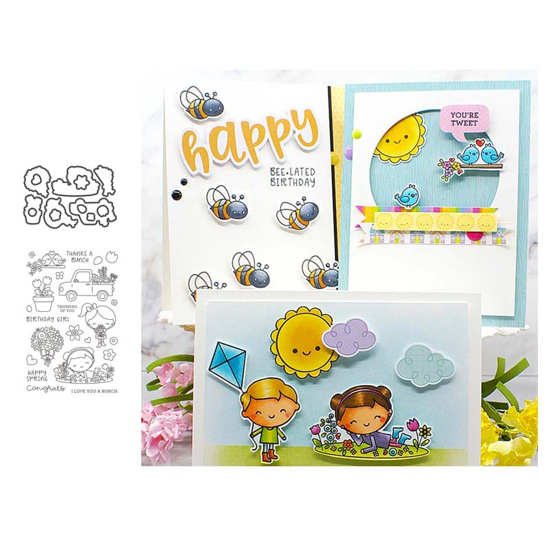 Little girl Metal Cutting Dies and clear stamps Stencils for DIY Scrapbook Photo Album Paper Card Decorative Embossing