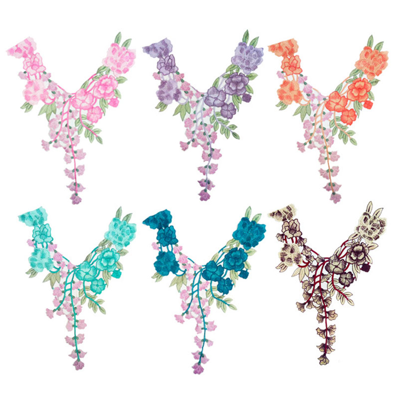 Flower Embroidered Lace Sewing For Clothes Applique Diy Accessory  Sticker Lace Neckline Collar Scrapbooking Patch Clothing