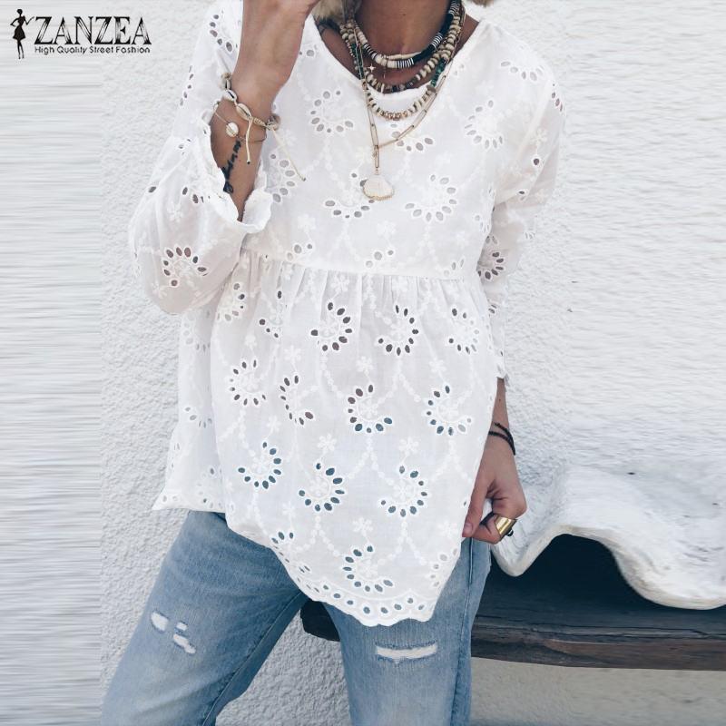 ZANZEA Women 3/4 Sleeve Hollow Out Blouse Autumn Lace Crochet Shirt Plus Size Female Back Button Down Blusa Femininas Solid Top7