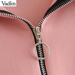 Image 3 - Vadim женские шикарные Лоскутные толстовки с капюшоном с длинным рукавом с завязками свободные пуловеры Женская верхняя одежда повседневные топы HA491