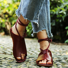 Flats shoes leather gladiator zapatos mujer summer