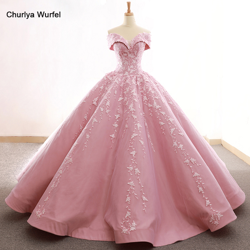 RSM66590 lovely pink off shoulder shiny evening dress sweetheart  floor length puffy pleat party quick shipping