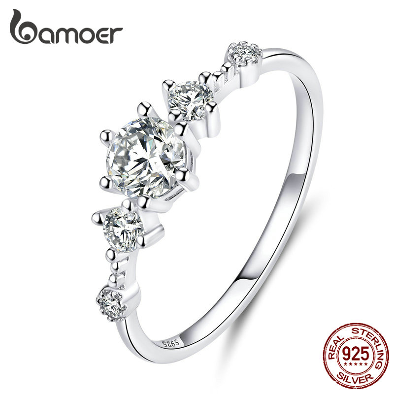 Bamoer Dazzling Sparkling Engagement Finger Rings For Women Solid Silver 925 Jewelry Wedding Statement Female Bijoux SCR568