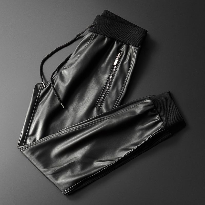 Thoshine Brand Men Leather Pants Superior Quality Elastic Waist Jogger Pants Zipper Pockets Male Faux Leather Trousers Slim Fit