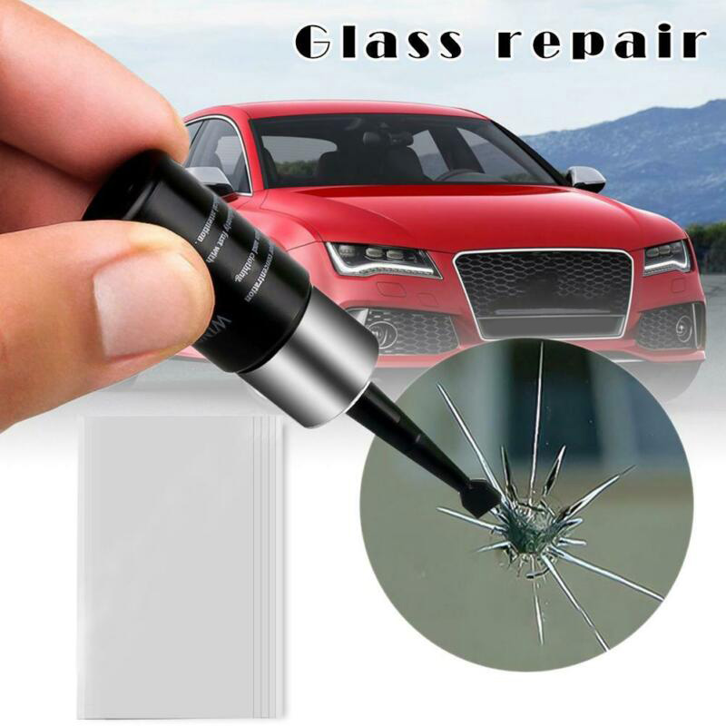 Car Windshield Windscreen Glass Repair Resin Kit Auto Vehicle DIY Scratch Crack Restore Window Fix Resin+blade+strips Set Tool