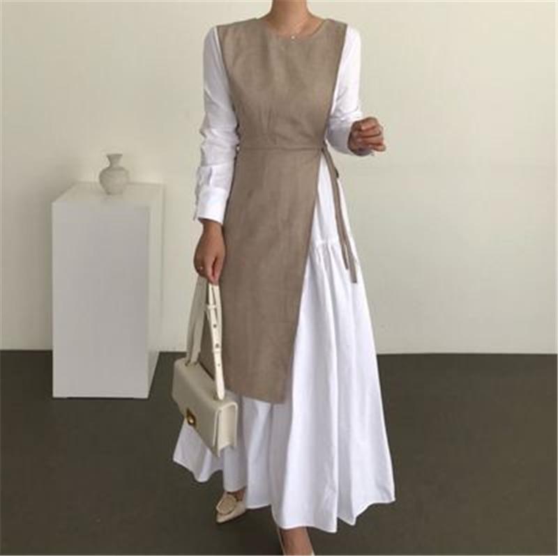 Женское платье макси RUGOD, Осеннее однотонное платье с длинным рукавом в стиле пэчворк во французском стиле, свободная модная женская одежда