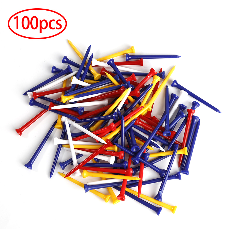 100 Pcs/Pack 70mm Durable Plastic Mix Color Golf Tees Golf Accessories Outdoor Sports Golfer Aid Tool Hot Sale