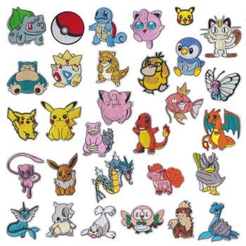 HOT 30 style Pokemon żelazko na łacie haftowane ubrania naszywki cartoon na odzież Kid Umbreon naszywki na ubrania odzieży aplikacje tanie i dobre opinie TAKARA TOMY CN (pochodzenie) 3-10cm Iron on Pikachu patch