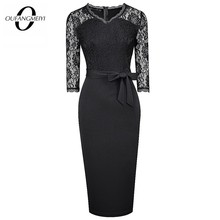 Women Sexy Floral Lace Patchwork See Through Chic Bow V Neck Elegant Stylish Slim Pencil Dress EB596