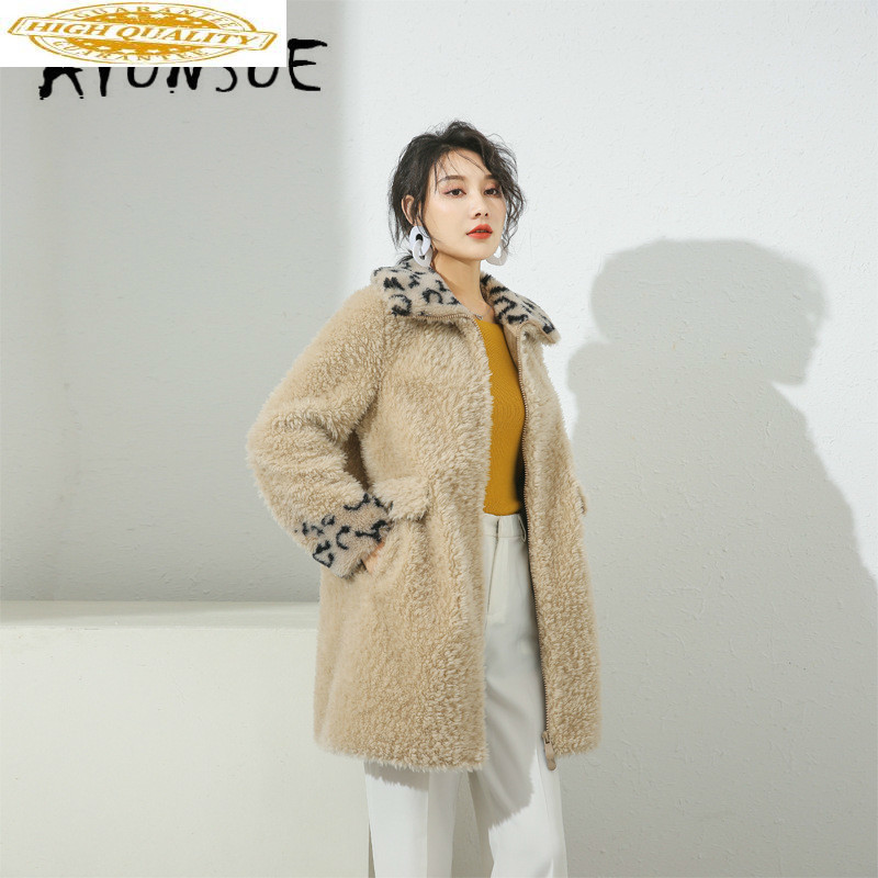 Real Fur Coat Women Sheep Shearing Autumn Winter Coat Women Clothes 2019 Korean Leopard 100% Wool Jacket Women 19036 YY2084