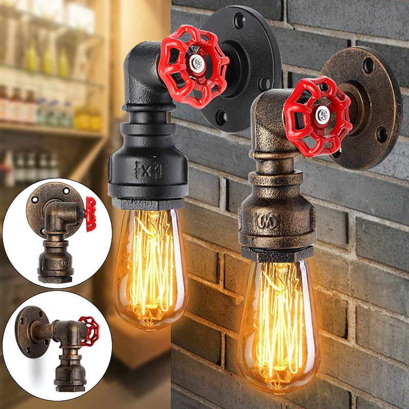 Hot E27 Vintage Water Pipe Wall Lamp Faucet Shape Steam Punk Loft Industrial Iron Rust Retro Home Bar Decor Lighting Fixture|Wall Lamps| |  - title=