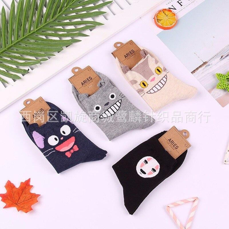 Cartoon Anime Print Socks No Face Man JiJi Tonari No Totoro Cute Fun Women Cotton Sock Fashion Casual Autumn Breathable Comfort