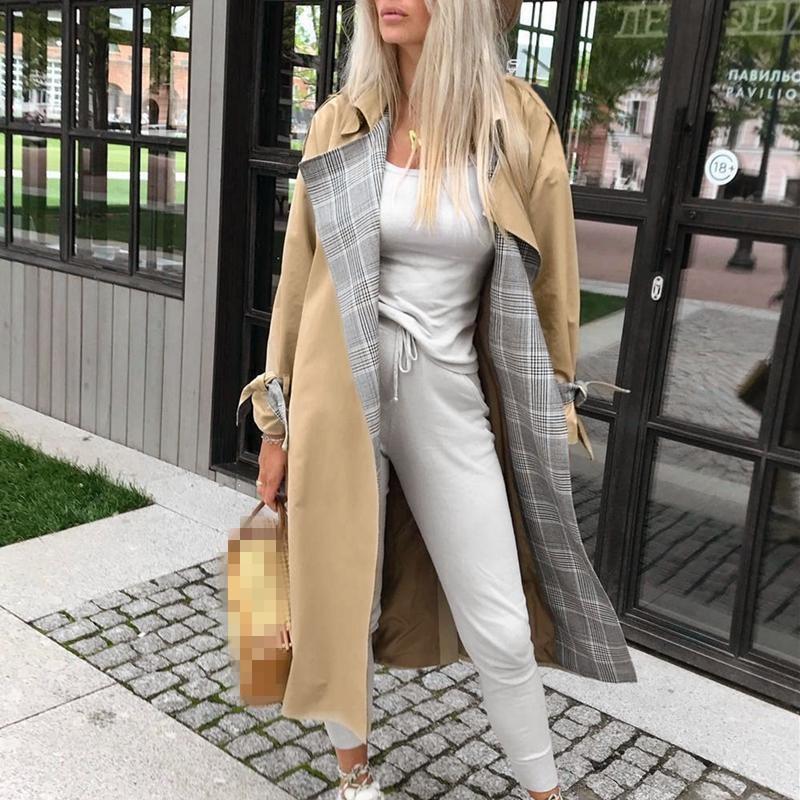 2019 Women Fashion Autumn Vintage Oversize Coat Office Elegant Pocket Plaid   Trench   Lady Streetwear Belted Windbreaker
