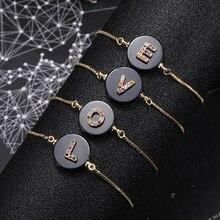 Color Crystal 26 Letter Bracelet For Women Adjustable initial Bracelet Femme Snake Chain
