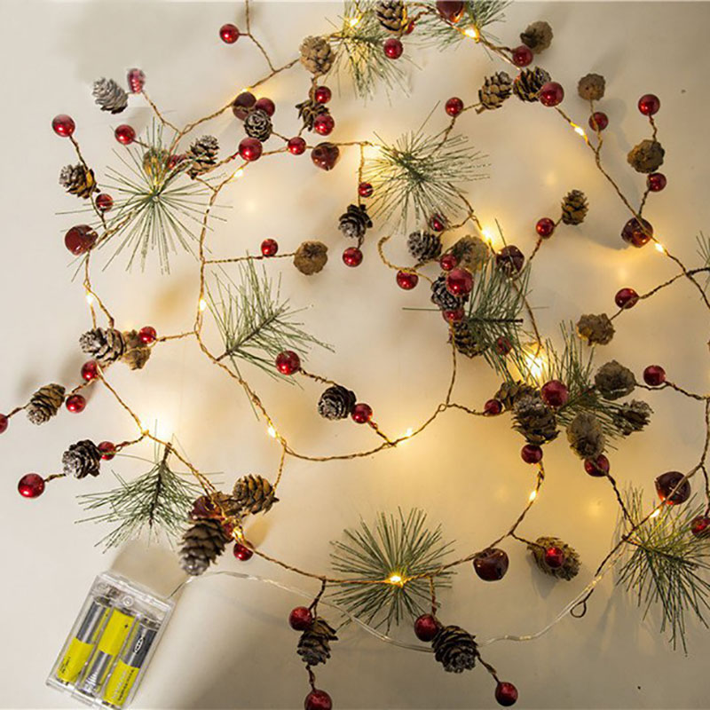 Christmas Decorations for Home 2m 20Led Copper Wire Pine Cone Led Light Christmas Tree Decorations Kerst Natal Navidad 2019 Noel in Pendant Drop Ornaments from Home Garden