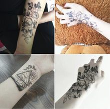 1pc Fashion Flowers Tattoo 90*190mm Art Children's Adult Hand Tatoo Women New Waterproof Temporary Black Tattoo Sticker Arm Body(China)