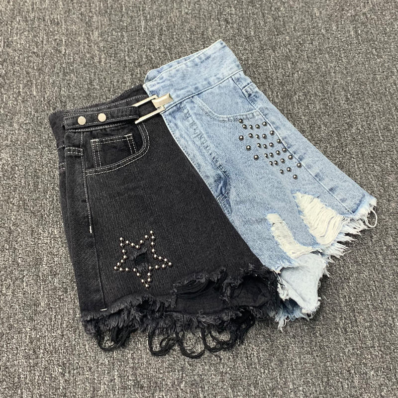Heavy Industry Beaded Hole Denim Shorts Women Black Wide Leg Metal Buckle Irregular High Waist Jeans Shorts