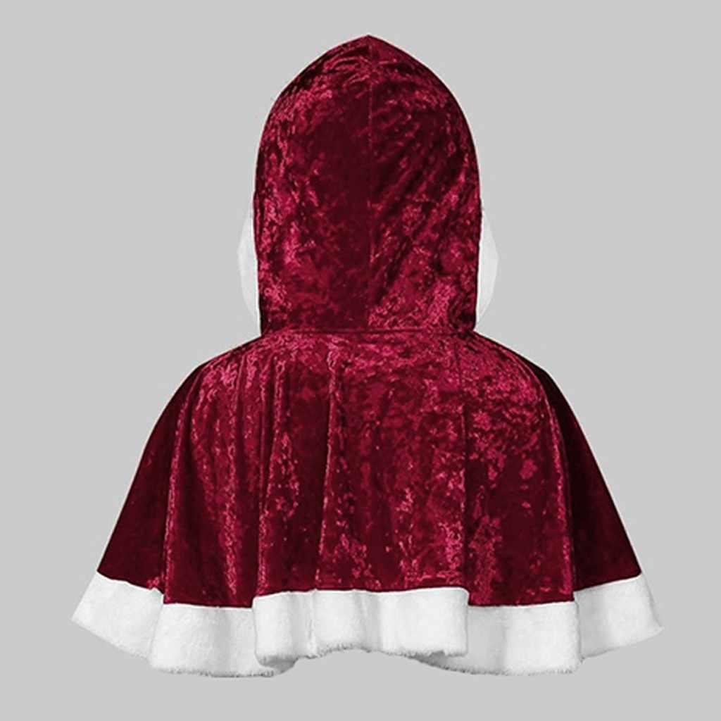 A forma Das Mulheres Manto Família Correspondência Cardigan Tops Casaco Capa Com Capuz de Santa Do Natal De Veludo Outwear Sólida Jaqueta Curta Blusas