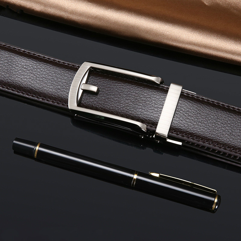 Luxury Brand Men Leather Belt Alloy Material Automatic Imitation Pin Buckle Business Retro Men's Jeans Wild High Quality Belts