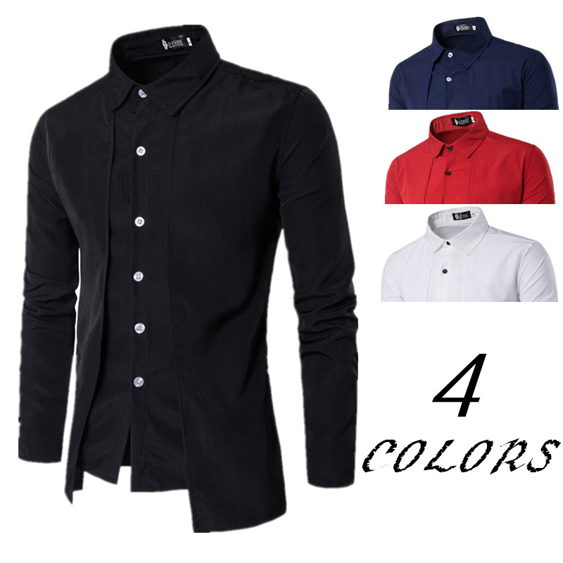 2019 Men's Shirts Casual Fake Two Piece Brand Bussiness Dress Shirts Autumn Solid Cotton Formal Clothing Long-Sleeved Top-blouse