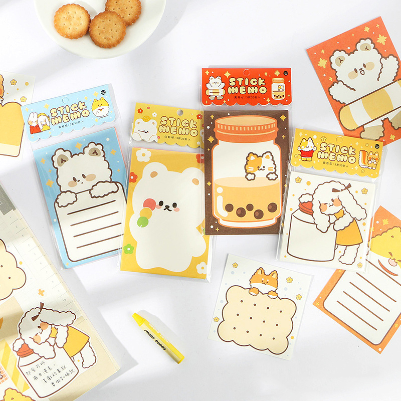 30PCS/Pack Bear Memo Pads Kawaii Cute Paper Note Memo Sheets Page Flags Note Pads Kit School Office Stationery To Do List Set