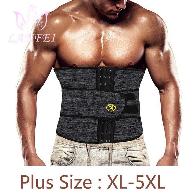 LANFEI Men Waist Trainer Cincher Sweat Belt Neoprene Body Shaper Slimming Tummy Control Corset Weight Loss Workout Fitness Strap