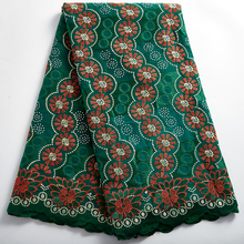 African Lace Fabric Latest  2021 Holes Cotton Swiss Voile Lace France For Weddin Nigerian Cotton Lace Fabrics With Stone 2381A