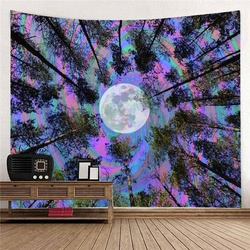 Colorful Forest and Moon Tapestry Psychedelic Tapestry Bohemian Tapestry Trippy Tapestry Wall Hanging Art Tapestry for HomeDecor