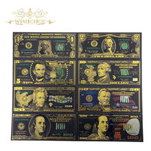 Best Price For Full Set 8pcs USA $1-100 Dollar Gold Banknote Colorful World Money For Souvenirs, Golden Bank Notes Drop Ship