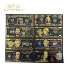 Melhor preço para o conjunto completo 8 pces eua $1-100 dólar notas de ouro colorido dinheiro do mundo para lembranças, ouro notas de banco navio da gota