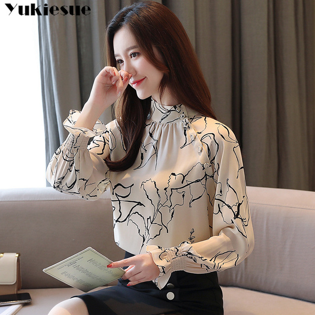 long sleeve OL office summer women's shirt blouse for women blusas womens tops and blouses chiffon shirts ladie's top plus size 4
