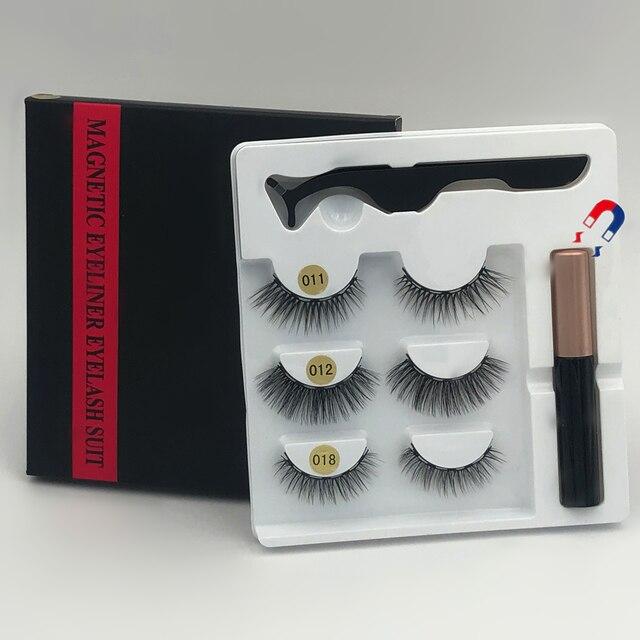 Makeup 3 pairs of magnetic eyelashes + liquid eyeliner + tweezers, waterproof long lasting eyelash extension eyelash set