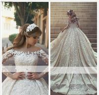 2019 Arabic Princess Sheer Long Sleeves Wedding Dress Ball Gown Lace Appliques Church Formal Bride Bridal Gown Plus Size