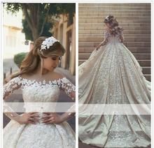 2019 العربية الأميرة شير كم طويل فستان الزفاف الكرة ثوب الدانتيل يزين الكنيسة فستان زفاف العروس الرسمي حجم كبير