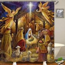 Золотая занавеска для душа с изображением Иисуса ванной комнаты