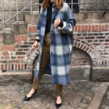 Woolen Coat Women Long-Sleeve Casual Plaid Loose Turn-Down-Collar Lady