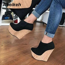 Aneikeh 2020 New Platform Wedges Ankle Boots Open Toed Comfortable Non-Slip Roman Fashion Women's Boots Riding, Equestrian Shoes(China)