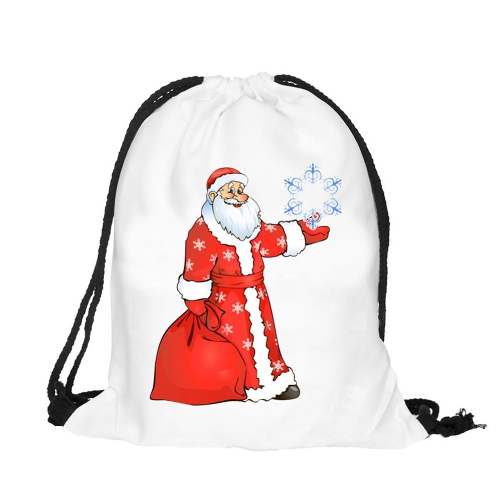 Women Men Bag Christmas Candy Bag Gift Bag Bundle Pocket 3D Printing Bags Drawstring Backpack Female Male Backpack Dropship T809