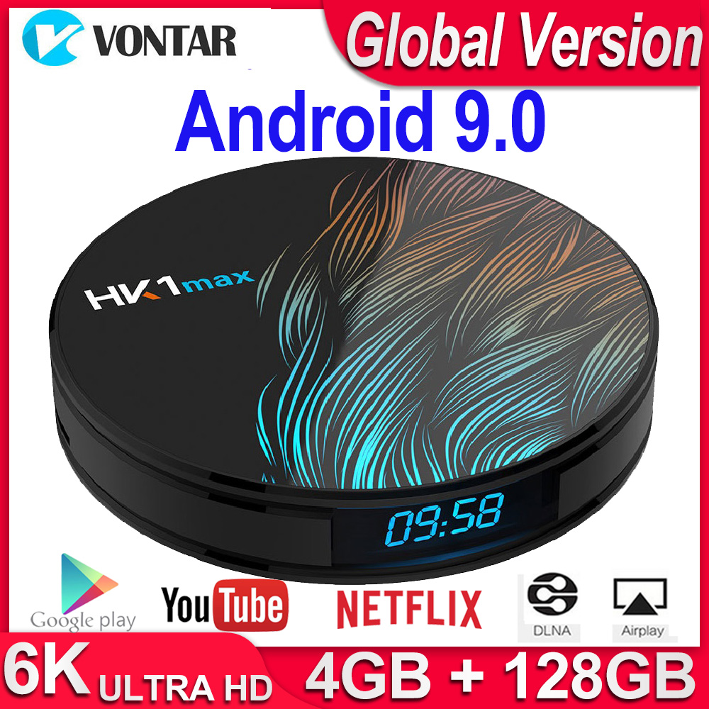 Android 9.0 Smart TV Box HK1 MAX Quad Core 4K décodeur 2.4G/5G WiFi BT4.0 lecteur multimédia 4GB RAM 64GB 128GB PK A95X R3 H96 Max