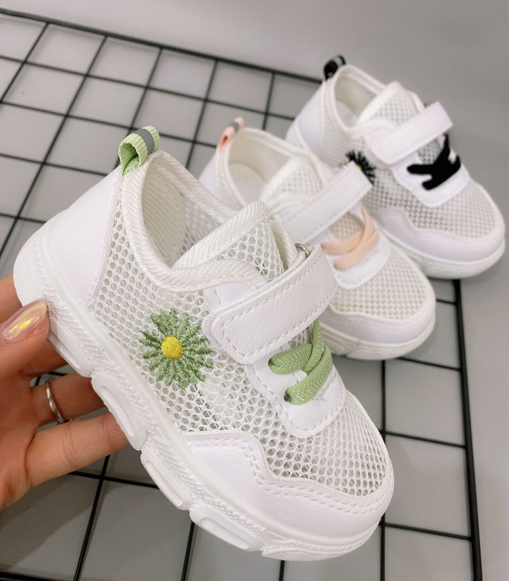 Girls Shoes Tennis Sporty Running Shoe White Small Daisy Flowers Children's Sports Shoes Little Kids Sneakers Gym Shose 2020 New