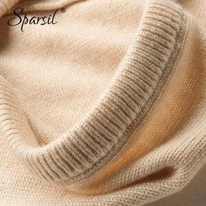 Image 5 - Sparsil gorro tejido de cachemira para invierno, bufanda para hombre y mujer, bufandas con cuello, sombreros con cordón, Unisex, calentador de cuello suave y grueso, 2018