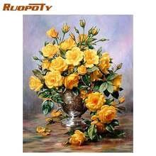 Ruopoty желтые цветы diy живопись по номерам домашний настенный