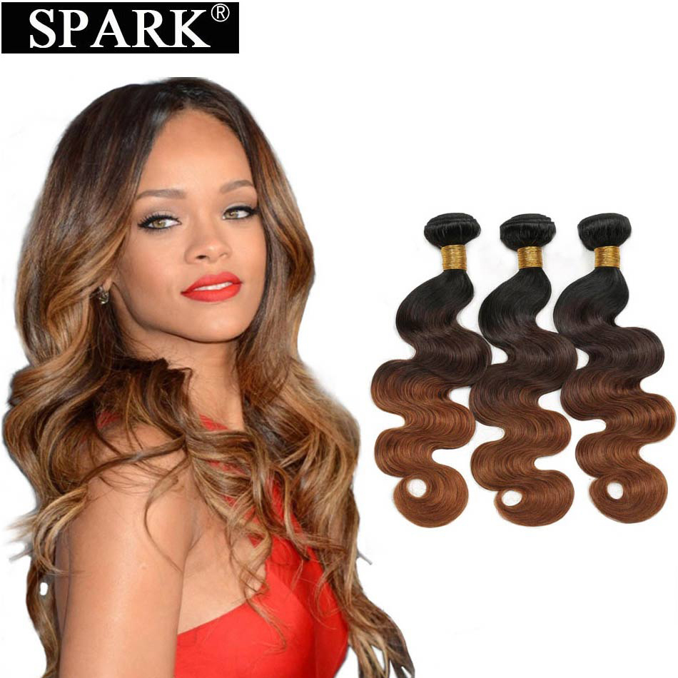Spark Hair 1/3/4 Bundles Ombre Brazilian Body Wave Human Hair Extensions 1B/4/30 &27 Color 10-26 Inch Remy Hair Weaves Bundles L