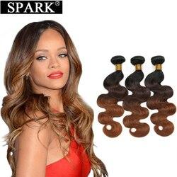 Spark włosów 1/3/4 wiązki Ombre brazylijski ciało fala doczepy z ludzkich włosów 1B/4/30 i 27 kolor 10-26 Cal Remy włosy do przedłużania wiązki L